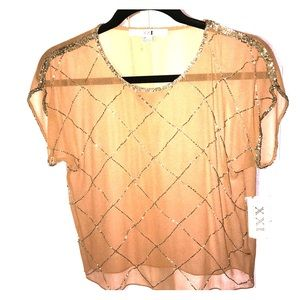 Forever 21 Sheer Beaded Top - Sz. Small